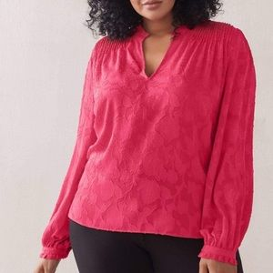 Additionelle Jacquard Balloon - Sleeve Blouse 1X